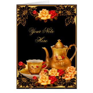 La invitación le agradece cardar rosas negros eleg tarjeta pequeña