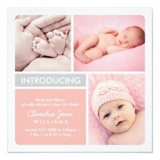 La invitación múltiple del nacimiento de la foto