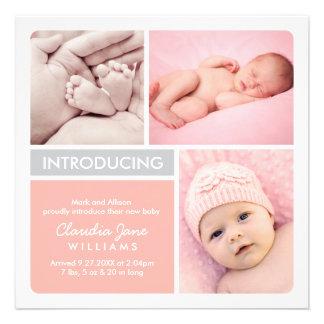 La invitación múltiple del nacimiento de la foto e