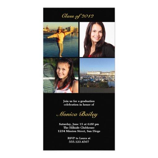 La invitación negra de la graduación del bloque il tarjeta fotográfica