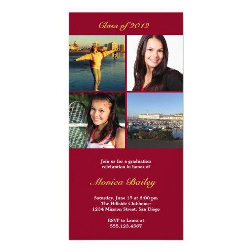 La invitación roja de la graduación del bloque ilu tarjetas fotograficas