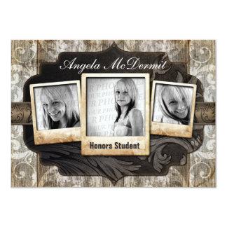 La invitación rústica de la graduación de la foto