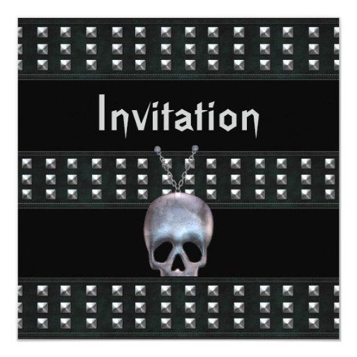 La invitación todo el cráneo del metal de las