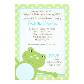 La invitación verde 2 de la ducha de la rana del invitación 12,7 x 17,8 cm