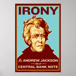 La ironía es Jackson en un poster central del
