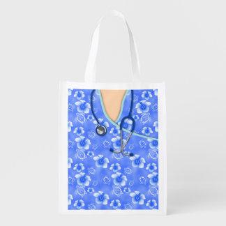 La isla blanca y azul del hibisco médica friega bolsa de la compra