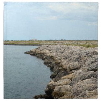 la isla curvada de la barrera de la roca en la servilleta imprimida