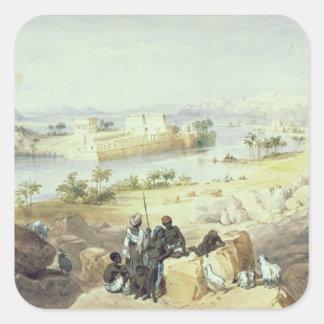 La isla de Philae, mirando rio abajo el Nilo Pegatina Cuadrada
