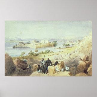 La isla de Philae, mirando rio abajo el Nilo Póster