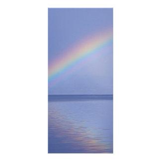 La isla de reflexiona sobre el arco iris diseño de tarjeta publicitaria