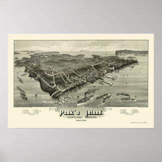 La isla del pico, YO mapa panorámico - 1886 Póster