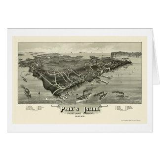 La isla del pico, YO mapa panorámico - 1886 Tarjeta De Felicitación