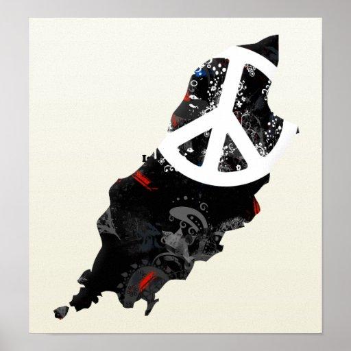 La isla del signo de la paz de moda del hombre con posters