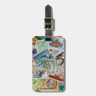 La isla del vintage sella la etiqueta del bolso etiquetas de equipaje
