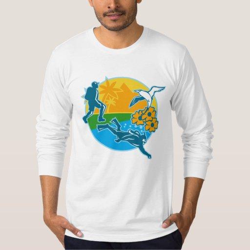 La isla Tropicbird del buceador del caminante Remeras