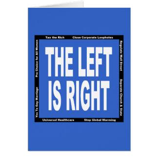 La izquierda correcta tarjeta de felicitación
