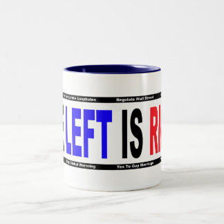 La izquierda correcta taza de dos tonos