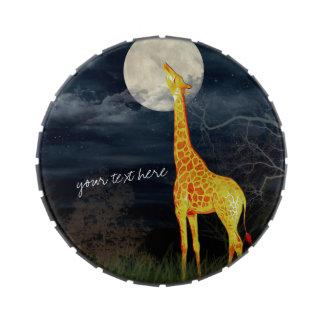 La jalea de encargo de la jirafa y de la luna frascos de caramelos