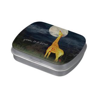 La jalea de encargo de la jirafa y de la luna latas de dulces