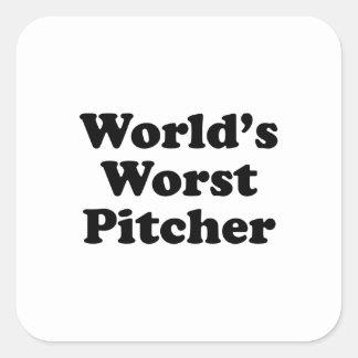 La jarra peor del mundo pegatina cuadrada
