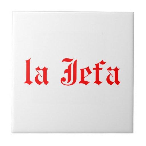 La jefa small square tile