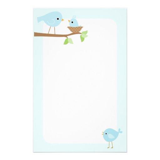 La jerarquía del pájaro de bebé (azul)  papeleria de diseño