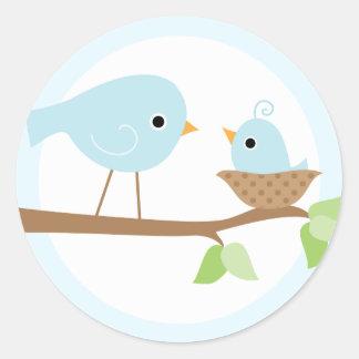 La jerarquía del pájaro de bebé (azul) pegatina redonda