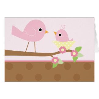 La jerarquía del pájaro de bebé (rosa) tarjeta de felicitación