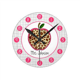La jirafa Apple personalizado registra para los pr Reloj Redondo Mediano