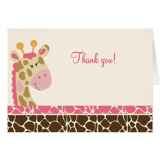 La jirafa de la selva (rosa) doblada le agradece l tarjeta