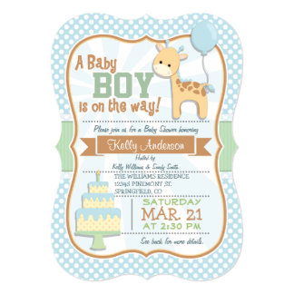"""La jirafa del bebé, fiesta de bienvenida al bebé invitación 5"""" x 7"""""""