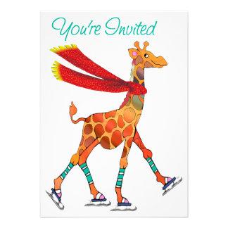 La jirafa del patinaje de hielo con la bufanda inv invitación personalizada