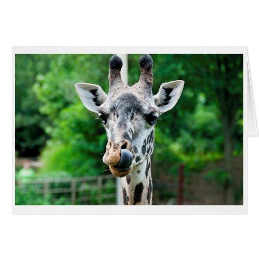 La jirafa dice hola tarjeta de felicitación