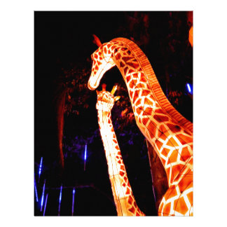 La jirafa enciende para arriba arte del festival plantilla de membrete