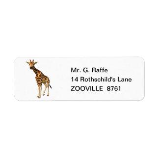 La jirafa etiqueta de remite