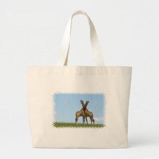La jirafa hermana el bolso de la lona bolsa lienzo