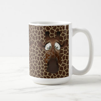 La jirafa linda hace frente a la taza animal del
