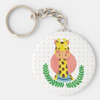 La jirafa linda llavero redondo tipo pin