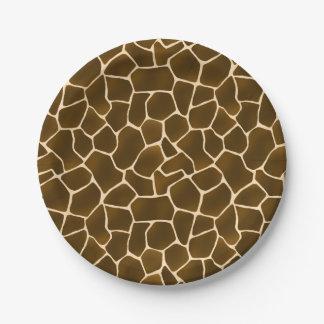 La jirafa mancha el estampado de animales salvaje platos de papel