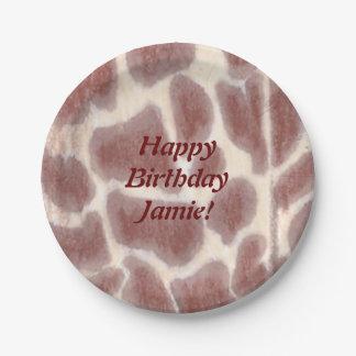La jirafa mancha las placas del cumpleaños del plato de papel 17,78 cm