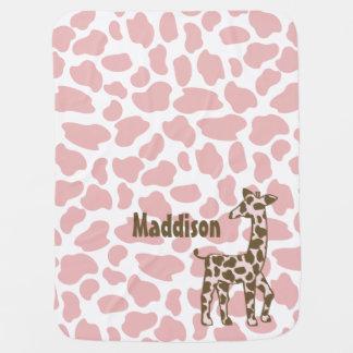 La jirafa mancha rosa y a Brown Mantas De Bebé