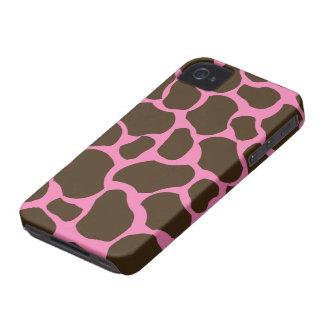 La jirafa marrón rosada mancha la caja elegante iPhone 4 fundas