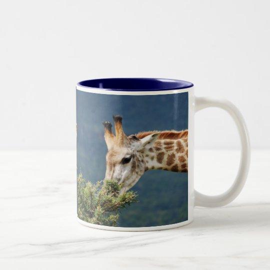 La jirafa que come alguno se va taza de café de dos colores