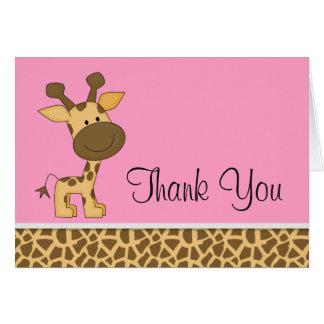 La jirafa rosada linda le agradece las tarjetas