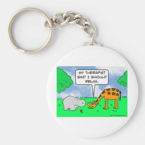 La jirafa se relaja llavero redondo tipo pin