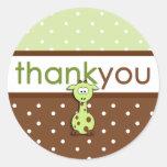 La jirafa verde le agradece los pegatinas