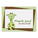 La jirafa verde le agradece tarjeta de nota tarjeta pequeña