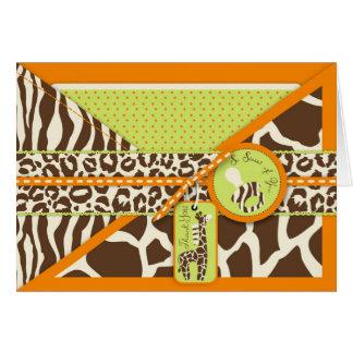 La jirafa y el pacificador del safari le agradecen felicitacion