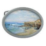La Jolla Beach by Guy Rose Oval Belt Buckle