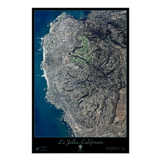 La Jolla California satellite poster print map